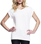 Bamboo Rolled Sleeve T-Shirt weiss