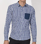 Impresses Pocket - Hemd Biobaumwolle - white blue check/navy