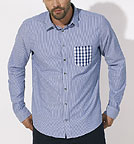 Impresses Pocket - Hemd Biobaumwolle - white-light blue/check