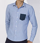 Impresses Pocket - Hemd Biobaumwolle - light blue/navy
