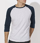 Baseball - Retro-Shirt aus Biobaumwolle - heather ash/navy