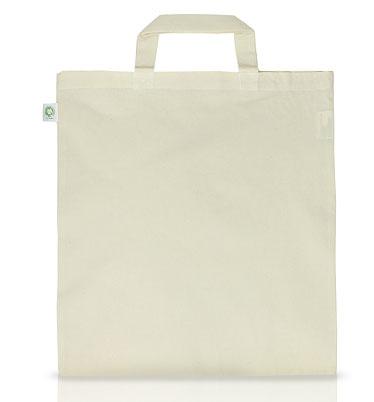 Doppelpack - Tasche aus Bio-Baumwolle - kurze Henkel - natur