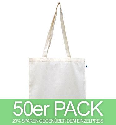 Fairtrade Tasche aus Bio-Baumwolle - natur - 50 Stück