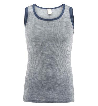 Unterhemd - Wolle/Seide blue melange