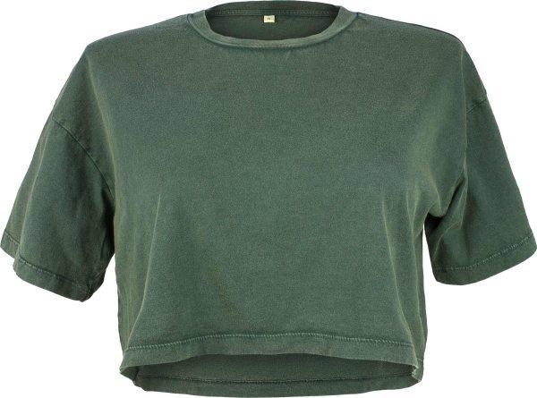 Cropped T-Shirt aus Biobaumwolle - stone green