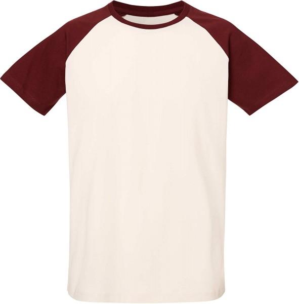 Baseball Short Sleeve T-Shirt Bio-Baumwolle - v. white/burgundy