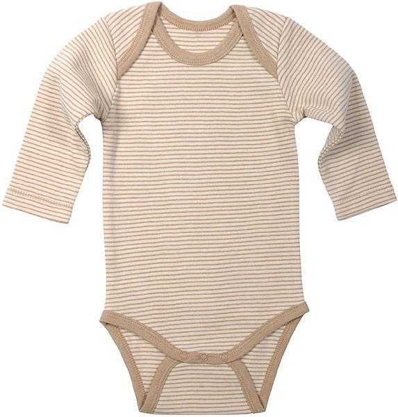 Baby Langarm-Body aus Bio-Baumwolle - hazelnut striped - Bild 1