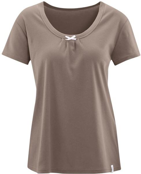 Schlaf-Shirt aus Feinripp Bio-Baumwolle - rosewood - Bild 1