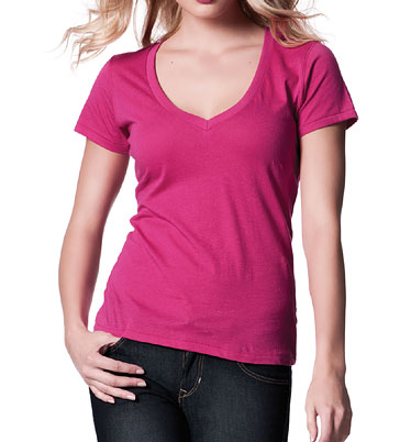 top mit v ausschnitt pink pinkes t shirt v neck f r. Black Bedroom Furniture Sets. Home Design Ideas