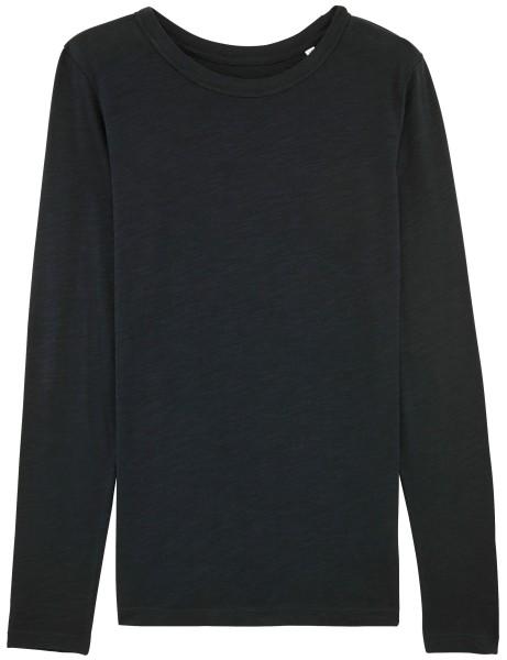 Langarmshirt schwarz Slub Bio-Baumwolle fair-wear