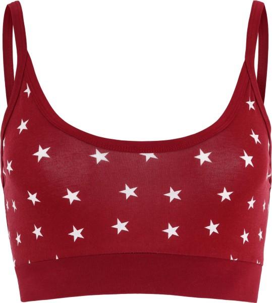 Bustier Bio-Baumwolle rot mit weißen Sternen - Albero