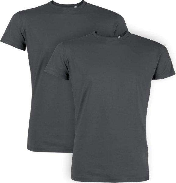 T-Shirt aus Bio-Baumwolle - 2er Pack - anthrazit