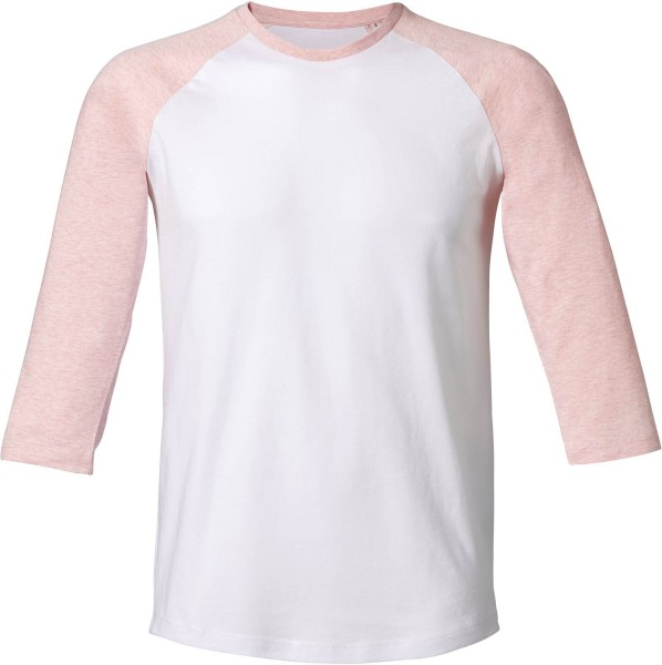 Baseball - Retro-Shirt aus Biobaumwolle - white/cream h. pink