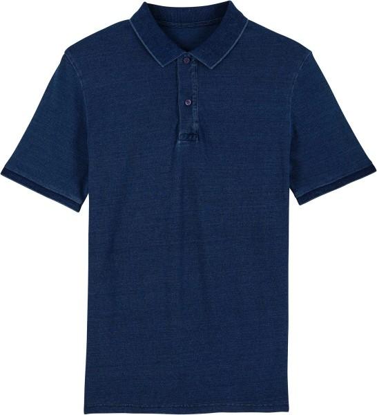 Piqué-Poloshirt aus Bio-Baumwolle - dark washed indigo