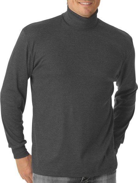 Rollkragen-Langarmshirt aus Mischgewebe - dunkelgrau meliert - Bild 1