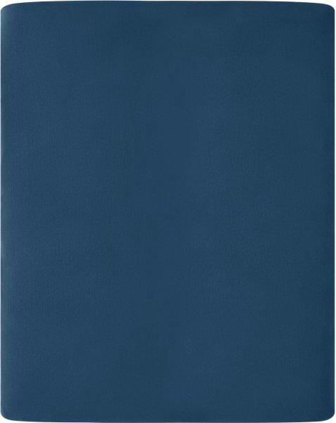 Flanell-Spannbetttuch aus Bio-Baumwolle 160x200cm - navy
