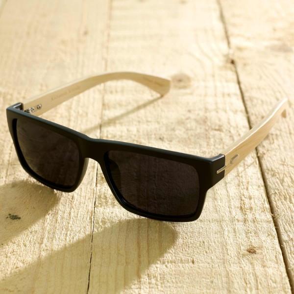 Roma - Sonnenbrille aus recyl. Kunststoff & Bambus - schwarz