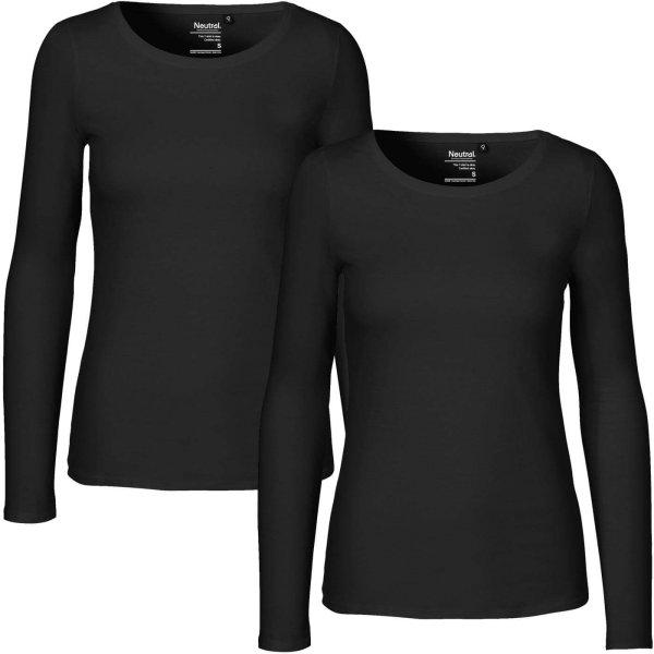 Langarmshirt Frauen schwarz Doppelpack Fairtade Biobaumwolle