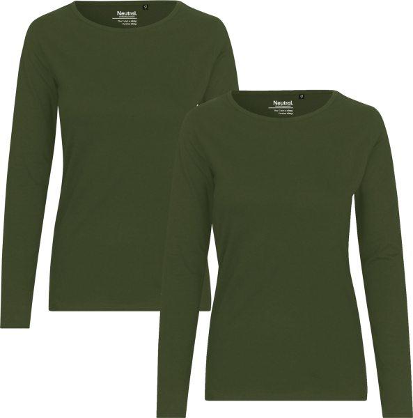 Damen Langarmshirt military green 2er-Pack Bio-Baumwolle