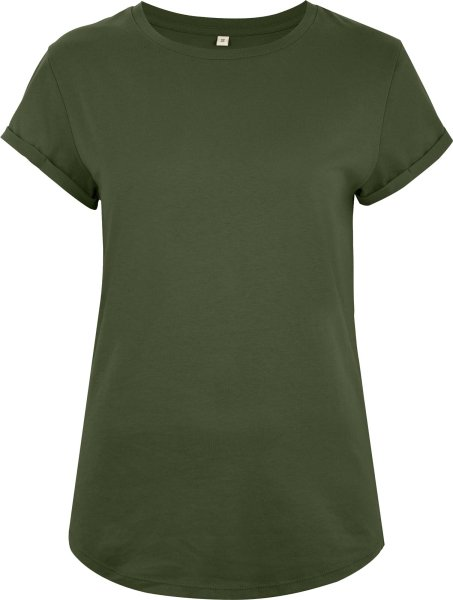 Organic Rolled Sleeve T-Shirt - moss green