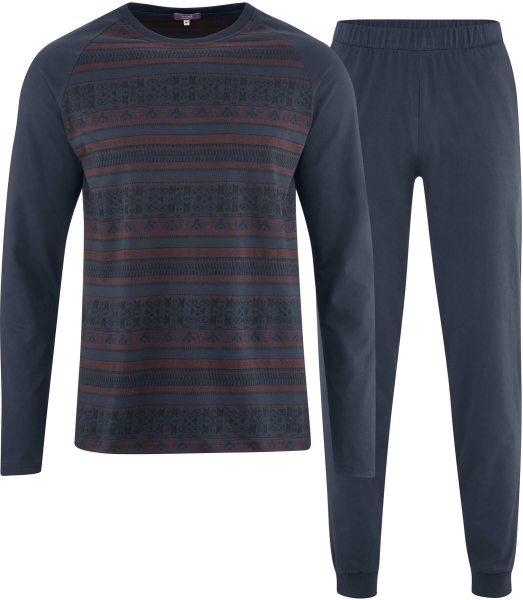 Schlafanzug aus Bio-Baumwolle - dark navy/ruby