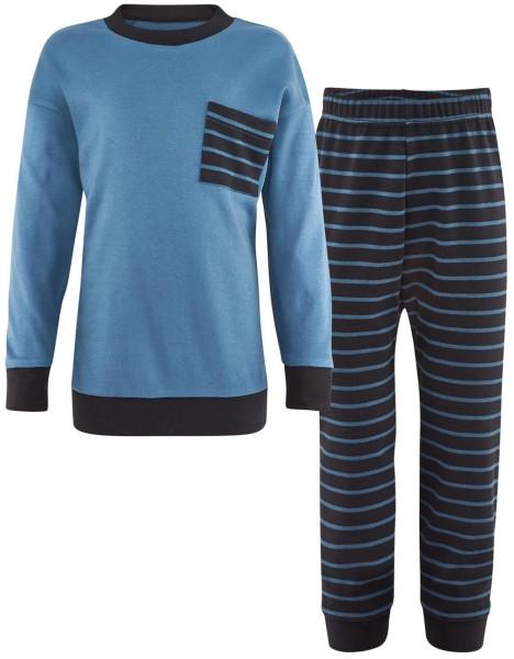 Kinder Schlafanzug blau gestreift Bio-Baumwolle