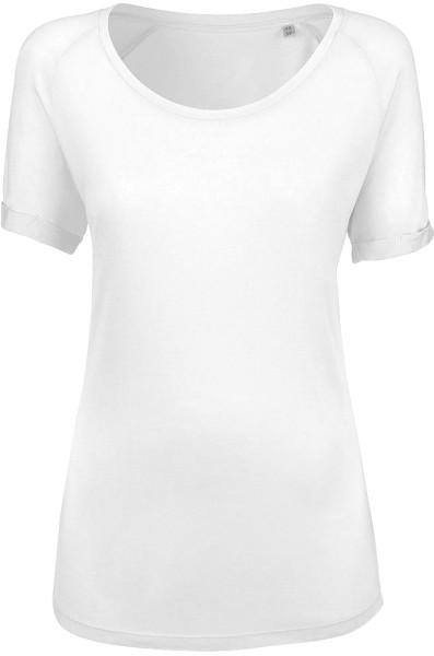 Raglan Rolled Sleeve T-Shirt aus Modal - weiss