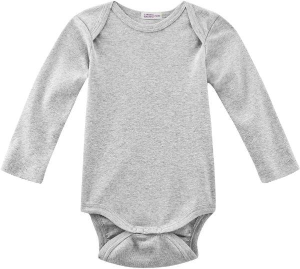 Baby Langarm-Body aus Bio-Baumwolle - grey melange