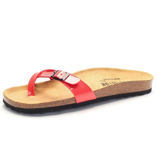 brand new f9ed1 39d62 Zehensandale mit Fußbett - charol sintetico - coral