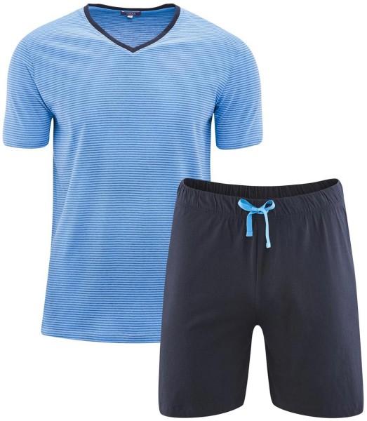 Kurzer Schlafanzug Bio-Baumwolle – navy/azur