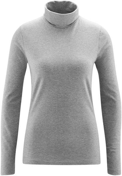 Rollkragen-Langarmshirt aus Bio-Baumwolle - stone grey