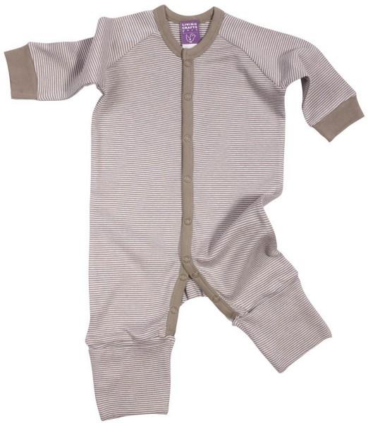 Baby Schlafanzug einteilig aus Bio-Baumwolle - taupe-gestreift - Bild 1