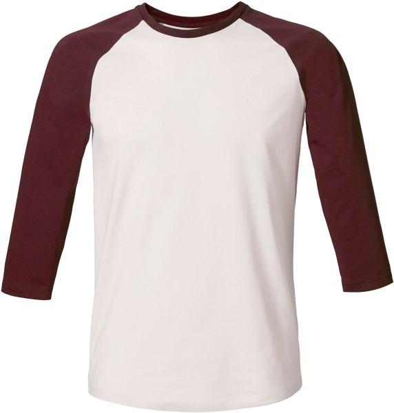 Baseball - Retro-Shirt aus Biobaumwolle - v. white/burgundy