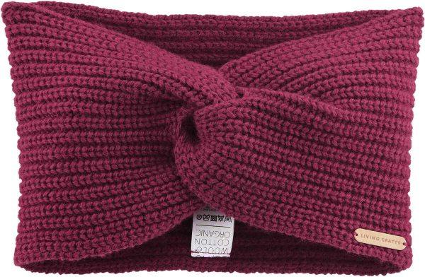 Stirnband aus Bio-Baumwolle und Bio-Wolle - winter pink