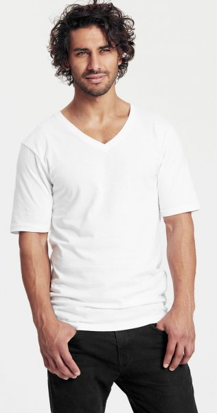 Organic Deep V-Neck T-Shirt Fairtrade weiss - Bild 1