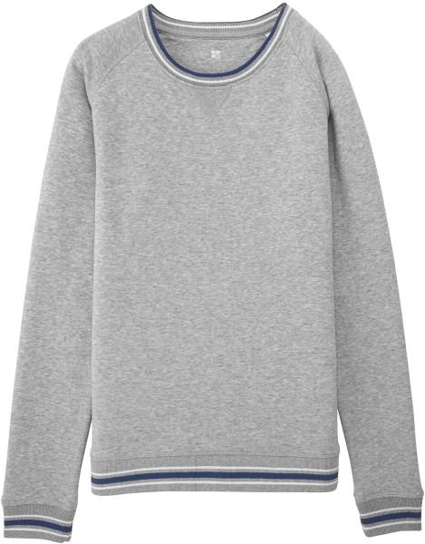 Sweatshirt mit Kontrastbündchen Bio-Baumwolle - grau meliert