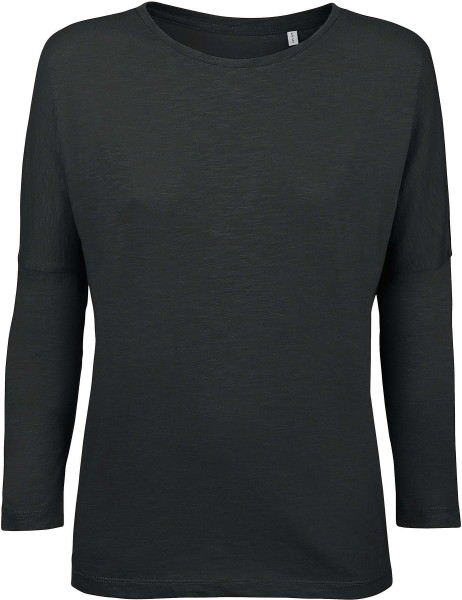 Oberteil mit 3/4-Arm schwarz - Bio-Baumwolle