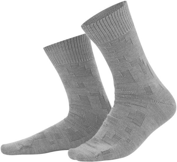 Socken aus Bio-Wolle und Bio-Baumwolle - grey melange