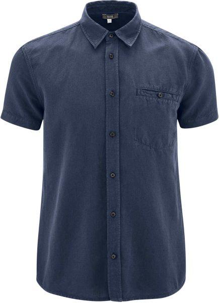 Kurzarm-Hemd aus Bio-Leinen und Bio-Baumwolle - ink blue