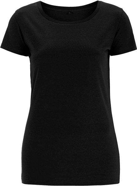Regular Fit T-Shirt mit weitem Halsausschnitt schwarz
