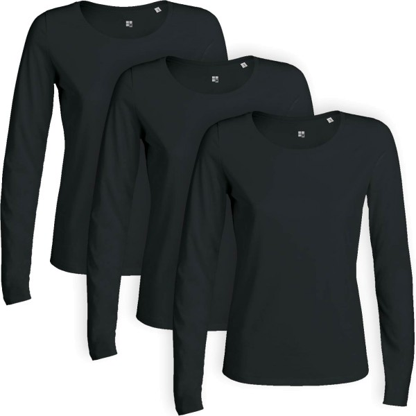 Longsleeve schwarz für Frauen (Multipack)