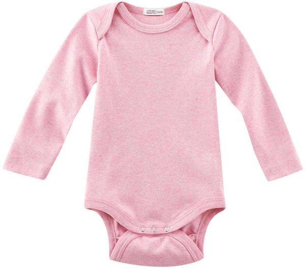 Baby Langarm-Body aus Bio-Baumwolle - rose melange