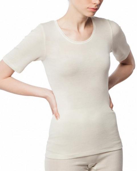 1/4-Arm-Hemd mit Spitze - Wolle/Seide natur - Bild 1