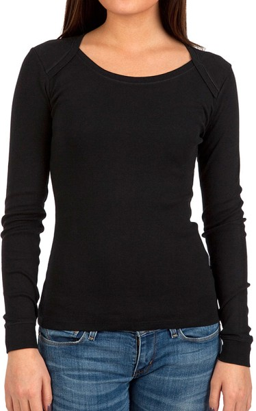 Organic Longsleeve T-Shirt American Closure Fairtrade schwarz - Bild 1