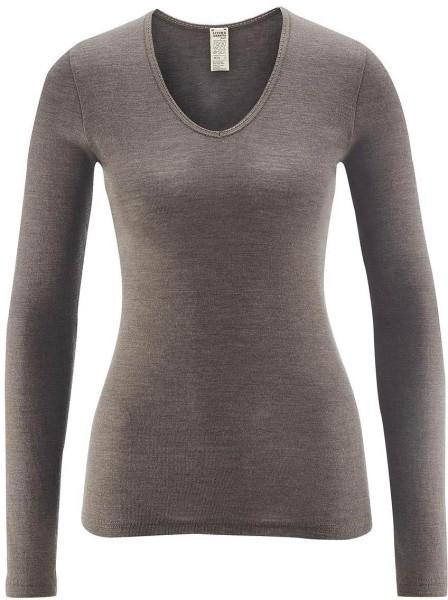 Langarm-Shirt V-Ausschnitt/Spitze - Wolle/Seide charcoal - Bild 1