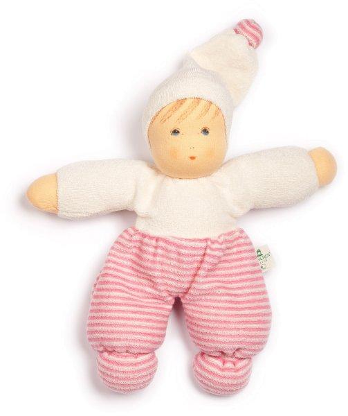 Möpschen Puppe aus Bio-Baumwolle - rosa gestreift