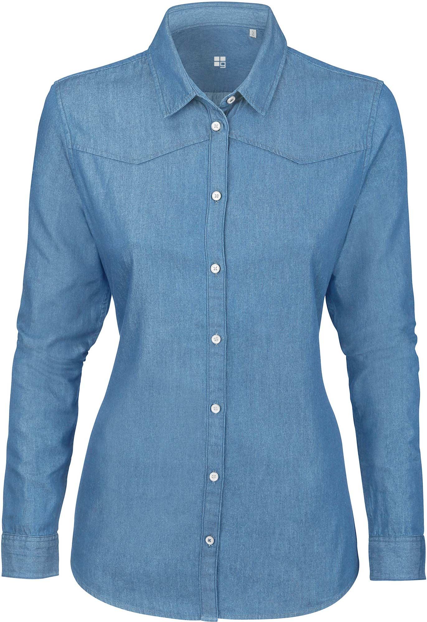 Damen jeanshemd aus 100 biobaumwolle for Jeanshemd damen lang