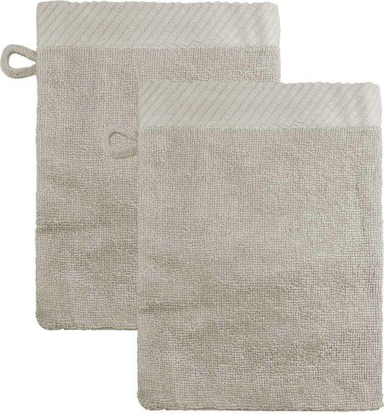 Waschhandschuhe aus Bio-Baumwolle 21x15cm - beige - 2er-Pack