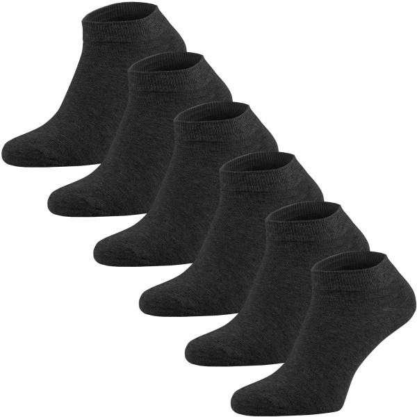 6er-Pack Sneaker Socken aus Bio-Baumwolle - anthrazit