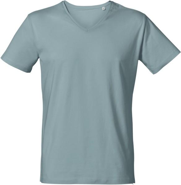 T-Shirt mit V-Ausschnitt aus Bio-Baumwolle - citadel blue